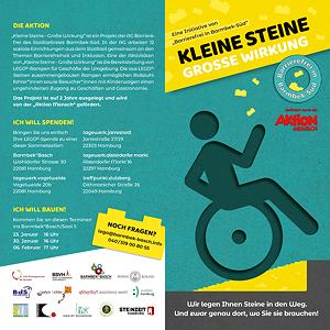 Flyer Vorderseite: Aufruf zum Sammeln von Lego-Steinen für Rollstuhlrampen vor Geschäften