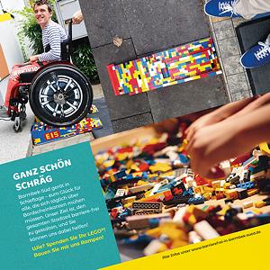 Flyer zum Sammeln von Lego-Steinen zum Bauen von Rollstuhlrampen vor Geschäften