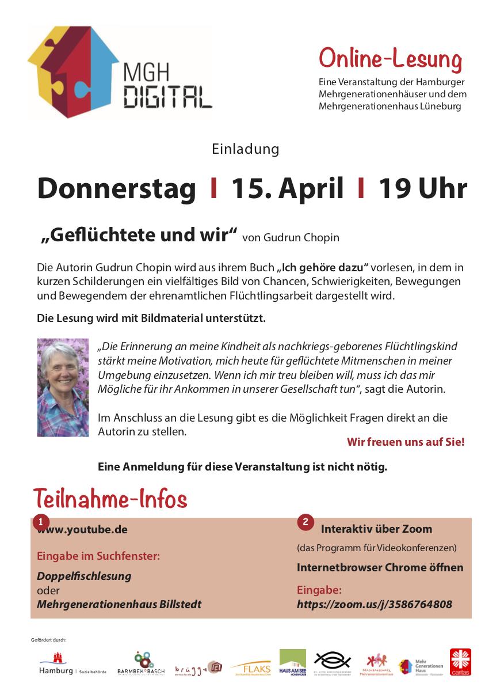Einladung zur online-Lesung der Hamburger Mehrgenerationenhäuser am 15.4.21 mit Gudrun Chopin